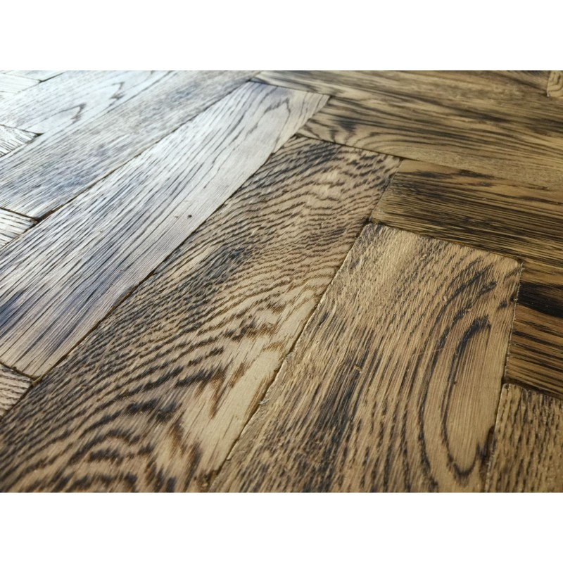 Tumbled Rustic Burnt Oak Parquet Flooring Blocks Natro
