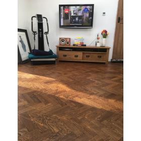 Tumbled Dark Oak Parquet Flooring Blocks Mat Oil Finish, size 16x70x280mm