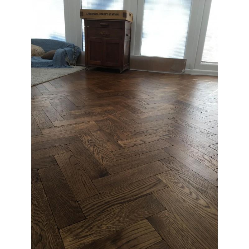 Tumbled Dark Oak Parquet Flooring Blocks Mat Oil Finish Size