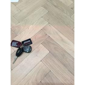 Sample of P125 Tumbled Rustic Oak Parquet Flooring Blocks Mat White Washed Finish, size 22x70x280mm