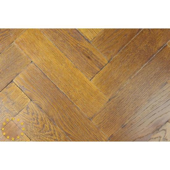 Sample Of P126 16 Tumbled Rustic Oak Parquet Flooring Blocks Natural Mahogany Finish Size 16x70x280mm