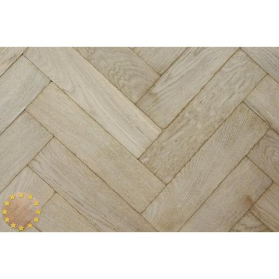 Sample Of P131 16 White Reaction Solid Parquet Flooring Size 16x70x280mm